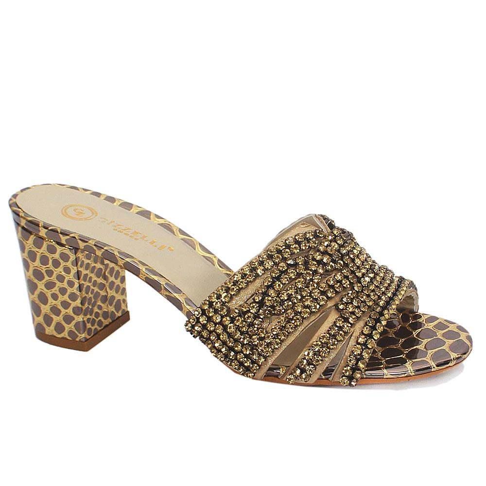 Zelli Gold Bellina Studded Italian Leather Mule Sandals