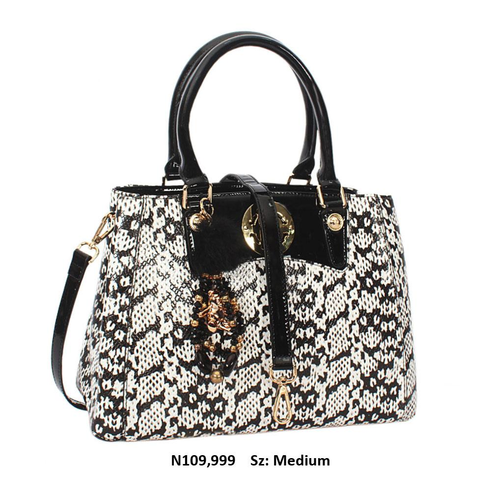 Amora White Black Snake Cowhide Leather Tote Handbag
