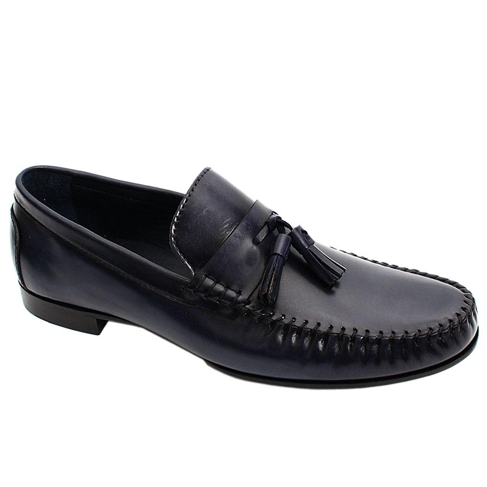 Navy Blue Alcobe Tassel Italian Leather Men Loafers