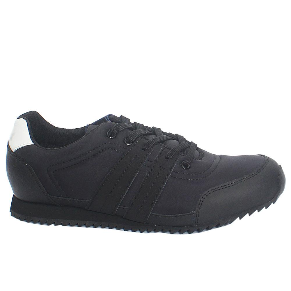 Black Runner Mix Fabric Leather Sneakers