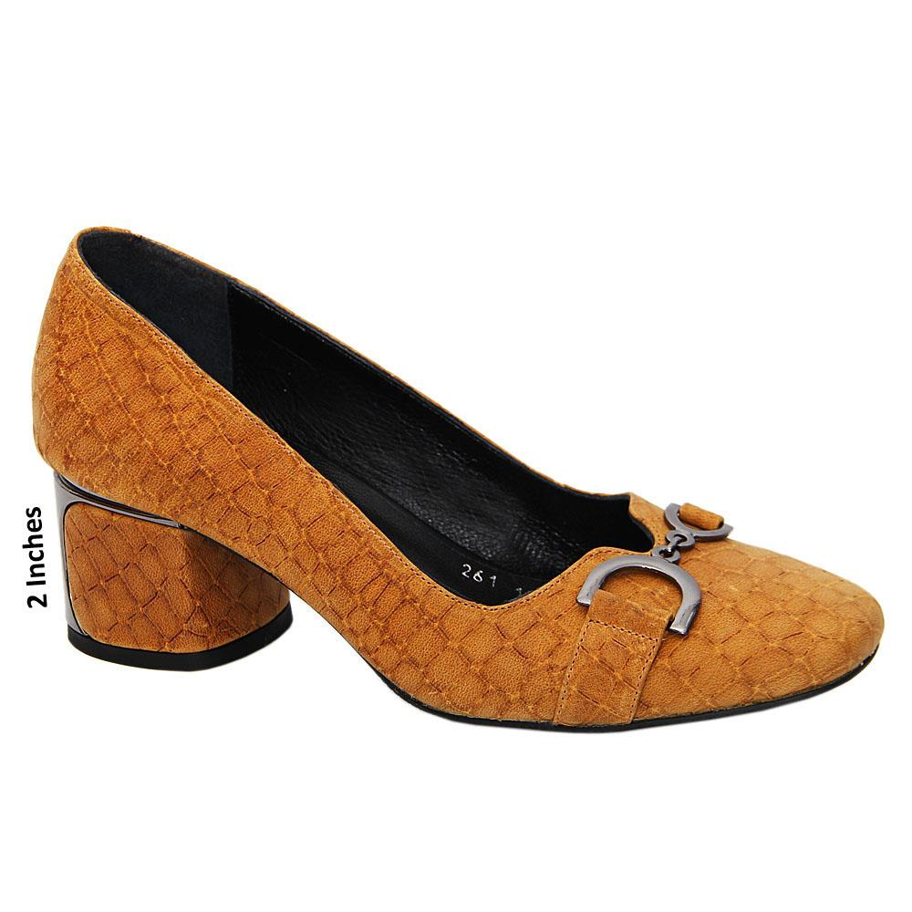 Mustard Yellow Michelle Tuscany Leather Mid Heel Pumps