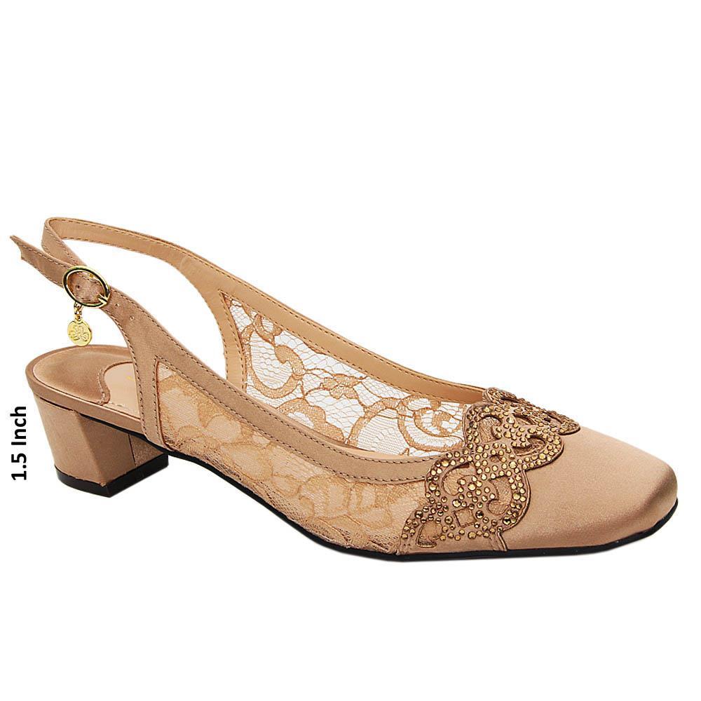 Dark Gold Annika Satin Fabric Low Heel Slingback Pumps