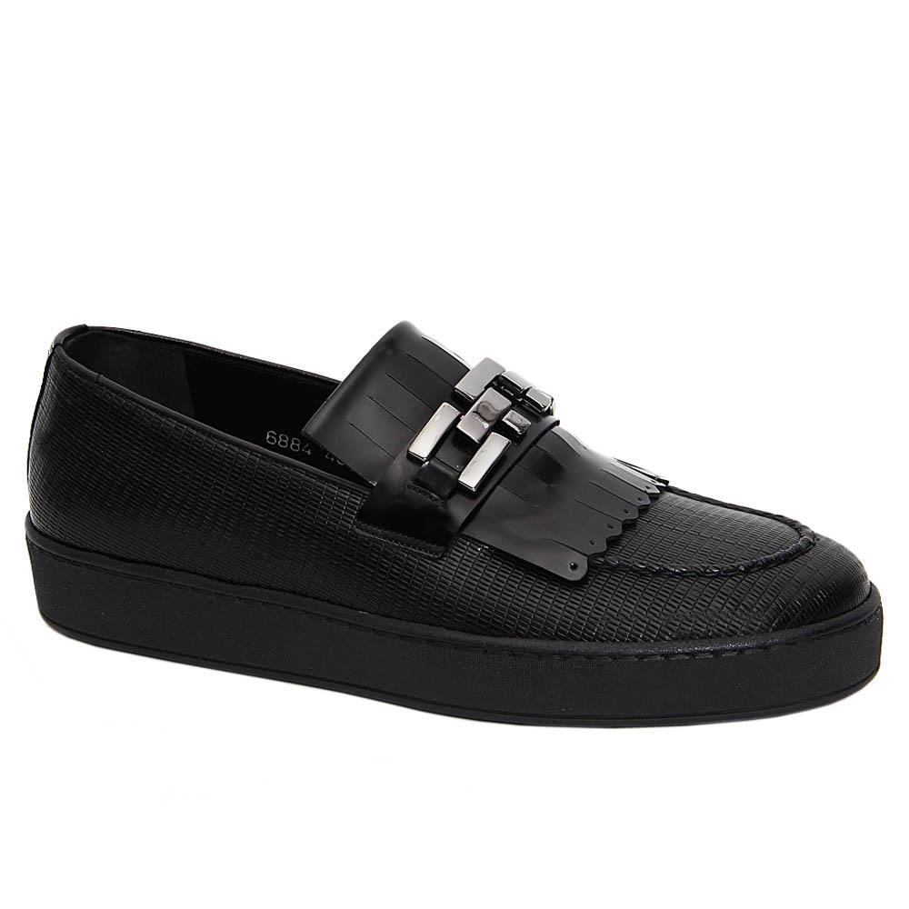 Black Luigi Italian Leather Fringe Slip-On Sneakers