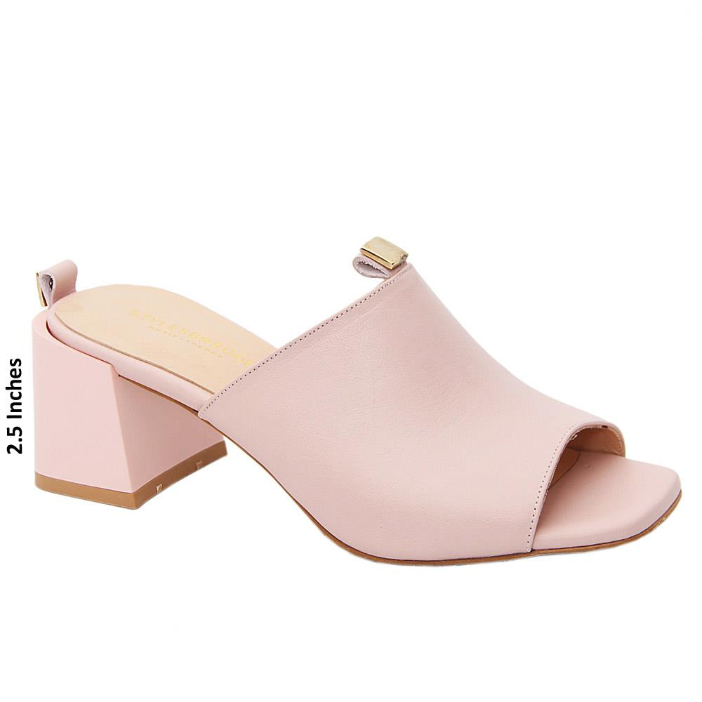 Soft Pink Madeline Tuscany Leather Mid Heel Mule