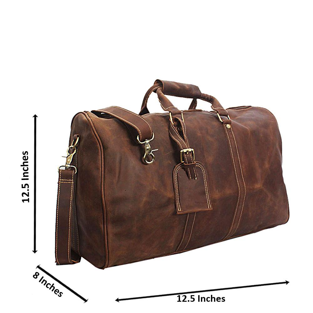 Coffee Distressed Leather Duffel Bag