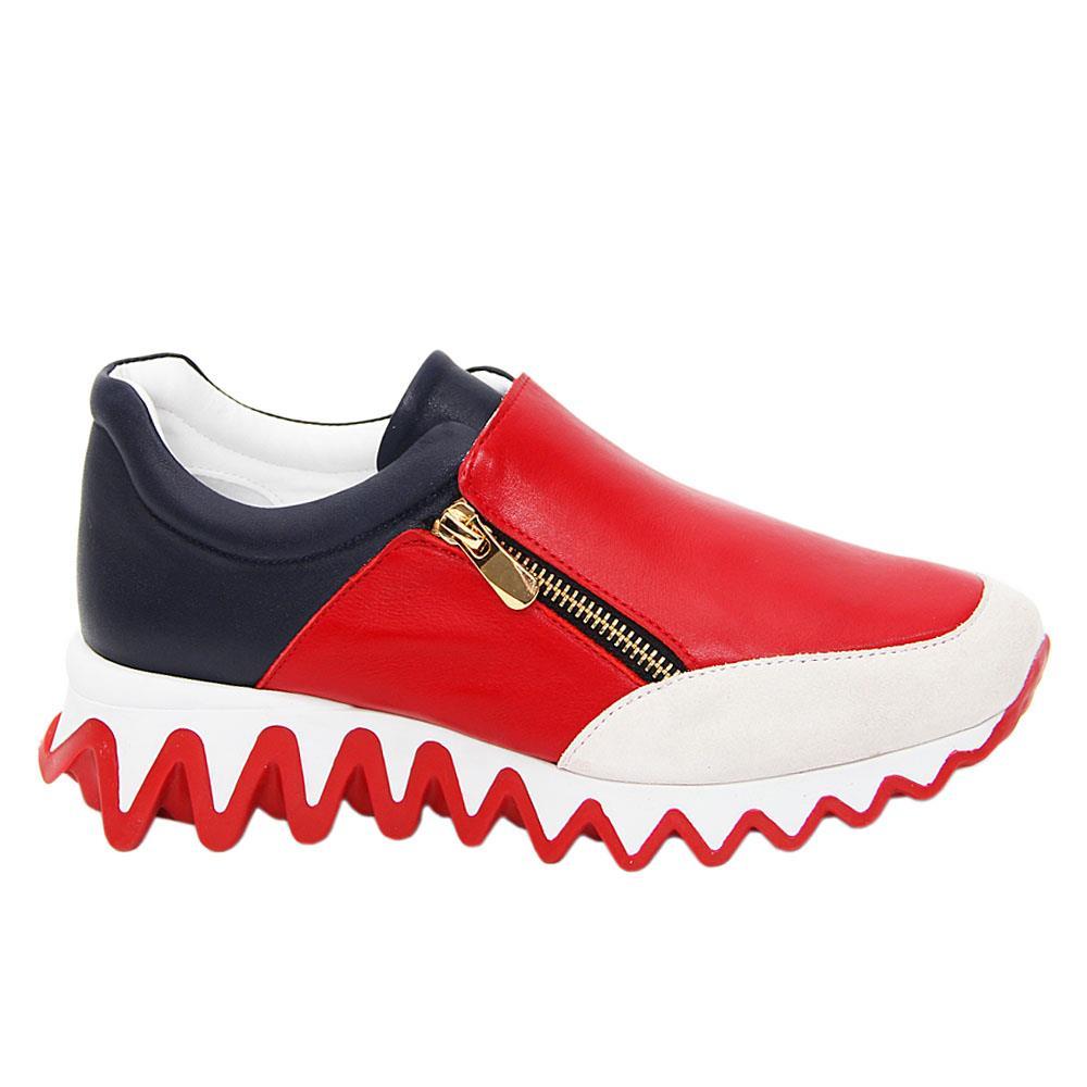 Red Navy Ascort Zipper Italian Leather Slip-On Sneakers