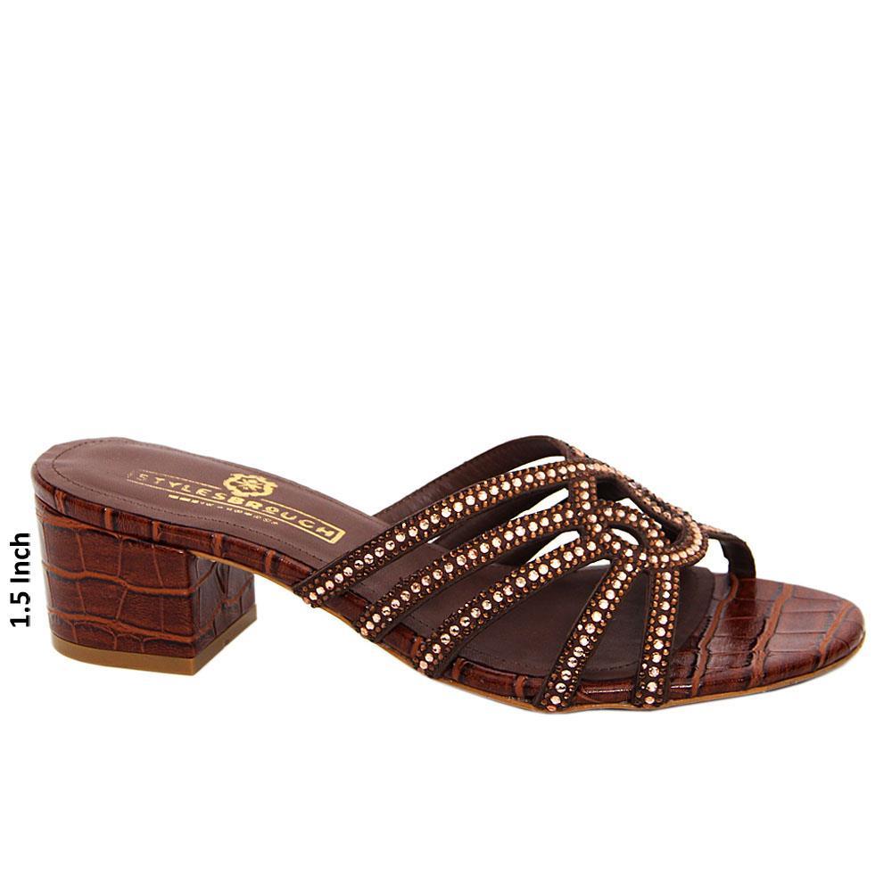 Coffee Bexley Studded Italian Leather Mid Heel Mule