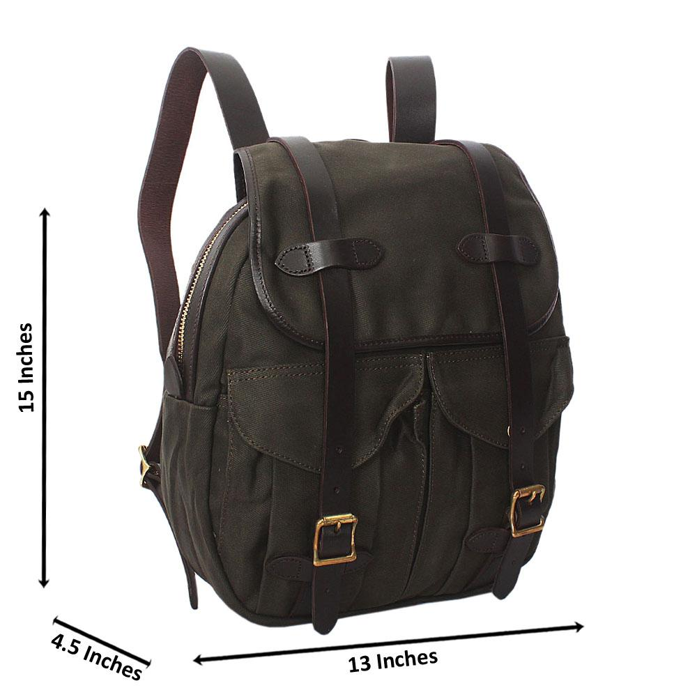 Green Water Proof Khaki Leather Mix Backpack
