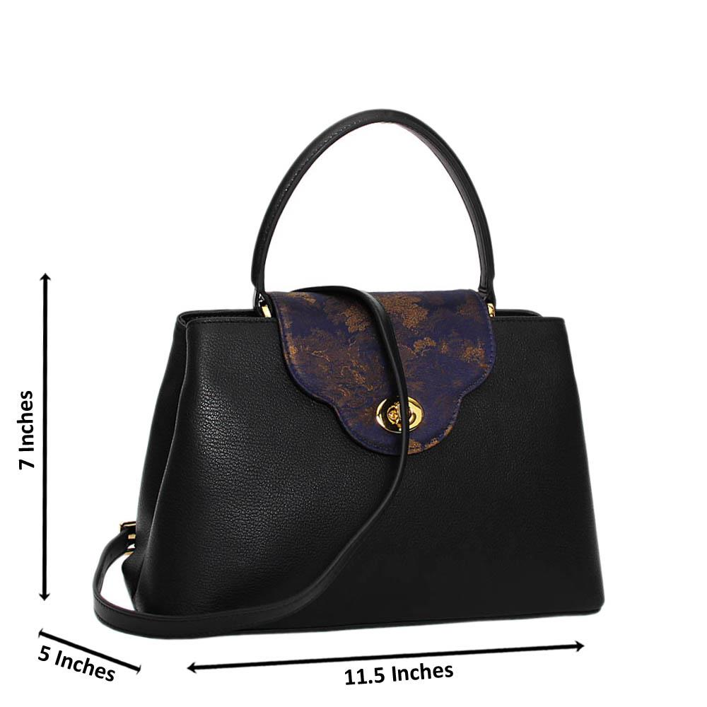 Black Carmella Premium Leather Medium Handbag