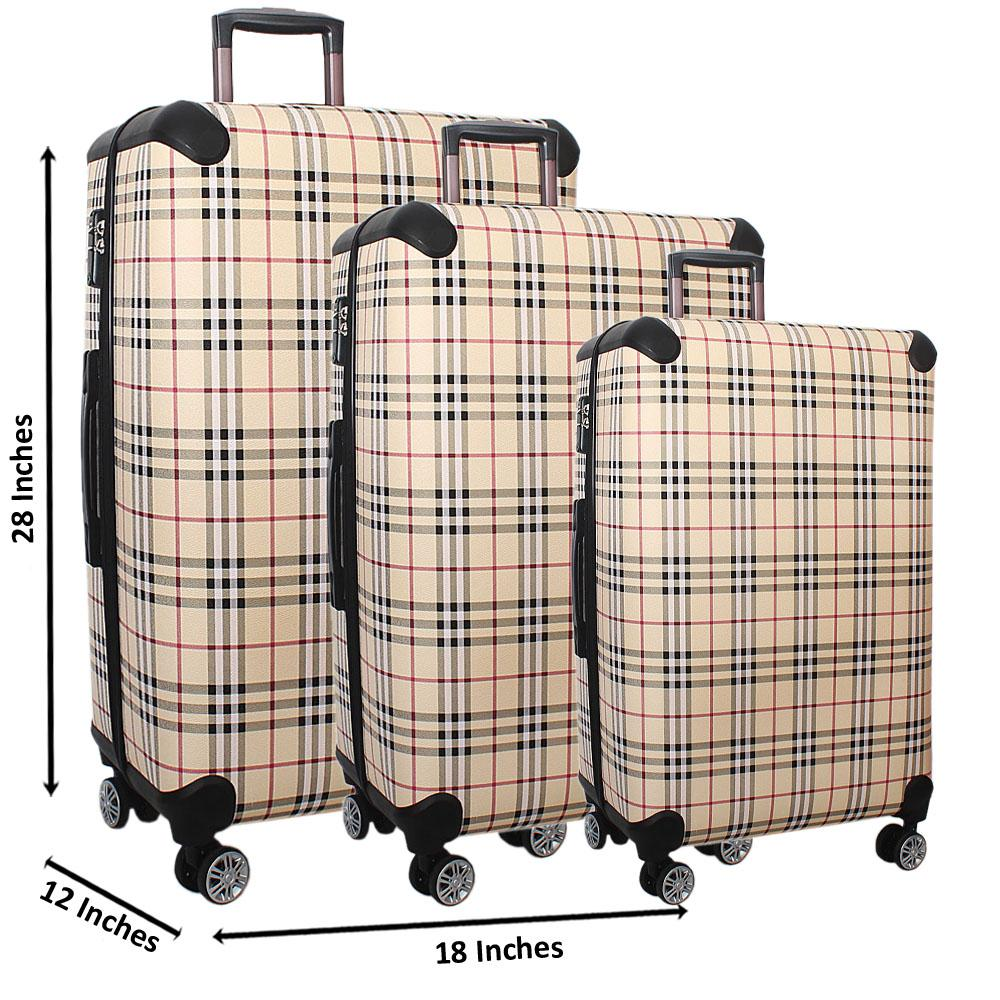 Cream Black Check 28 Wt 24 and 20 Inch 3 in 1 Leather Luggage Set Wt TSA