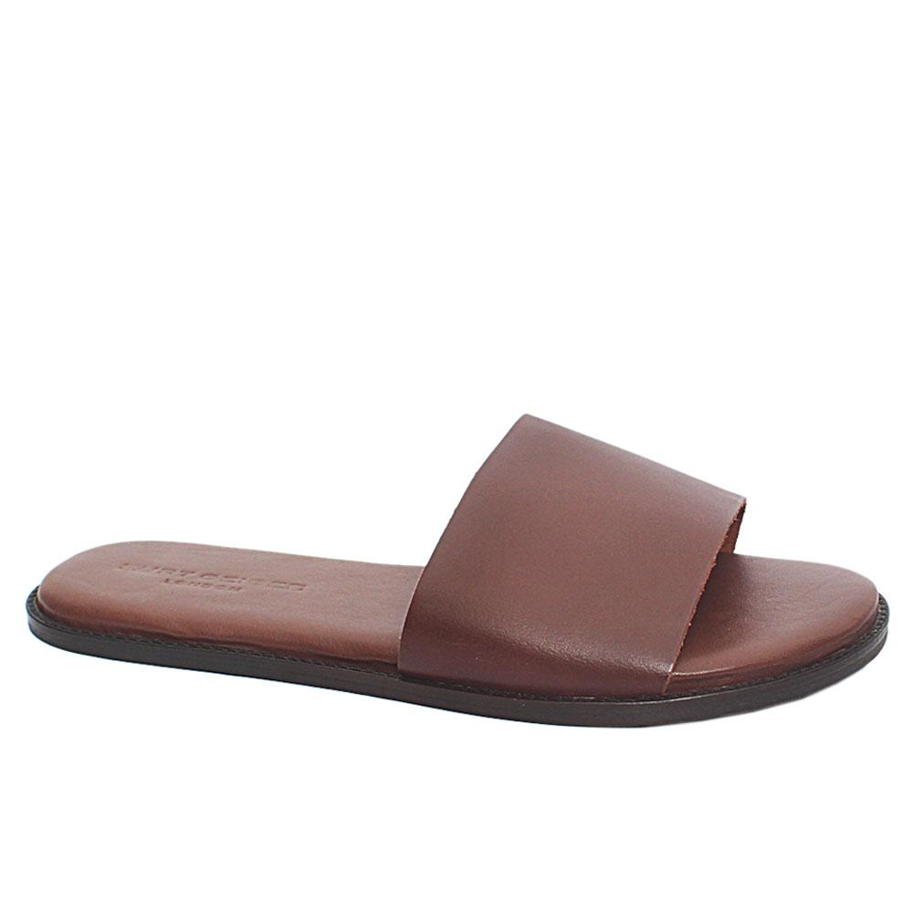 Brown Premium Leather Flat Men Slippers
