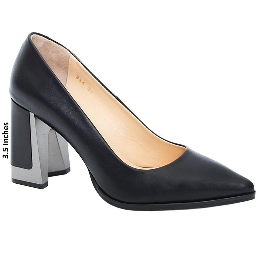 Black Margarita Tuscany Leather High Heel Pumps
