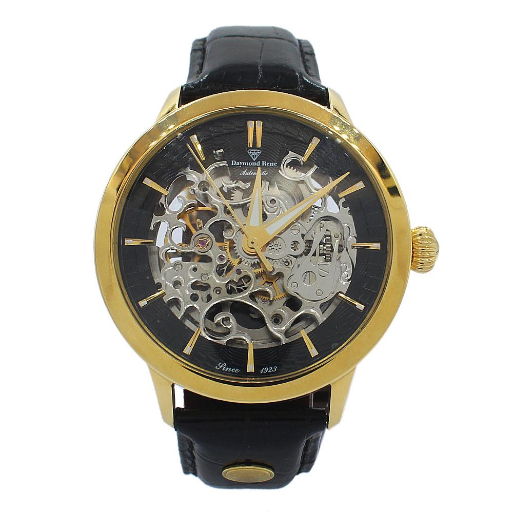 Gold Black Leather Skeletal Automatic Watch