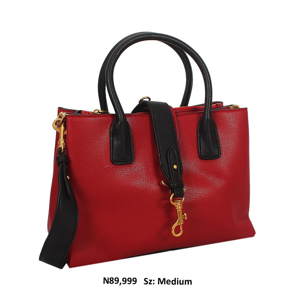 AgneAly Red Black Saffiano Leather Tote Handbag
