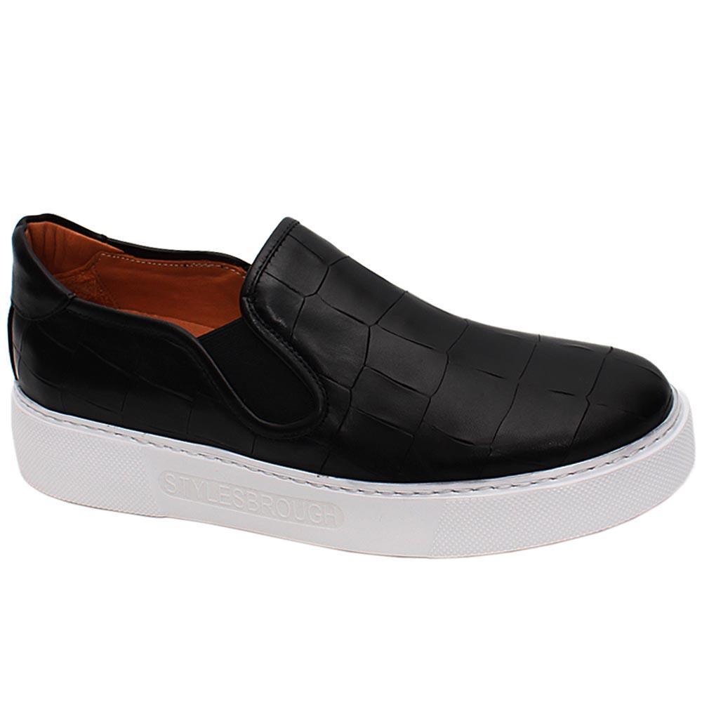 Black Hernandez Croco Styled Italian Leather Slip On Sneakers