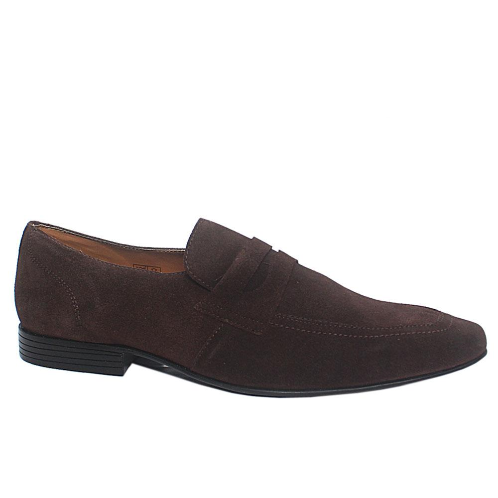 Coffee Suede Leather Loafers