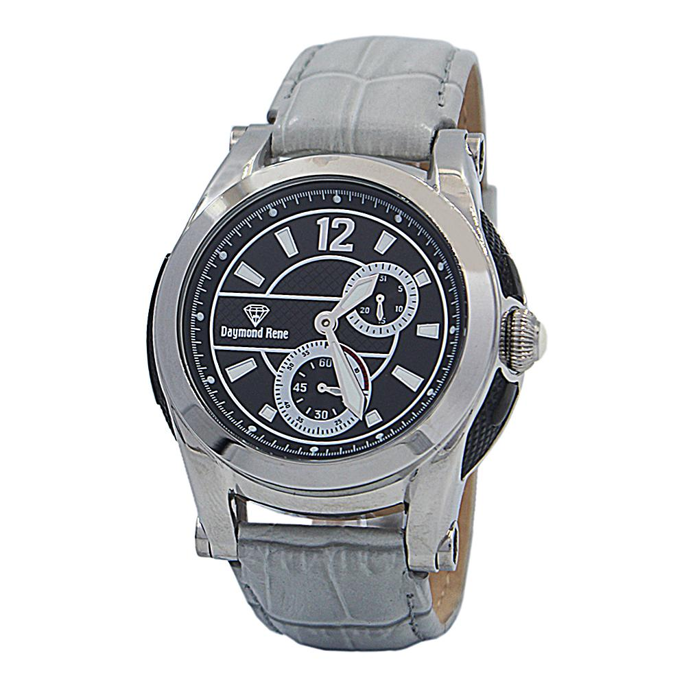 DR 10ATM Cloud Gray Silver Leather Chronograph Watch
