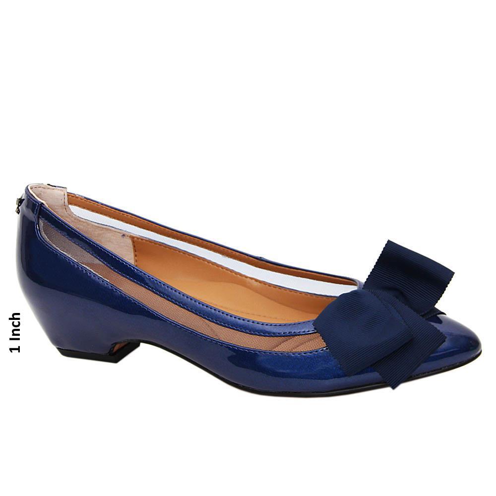 Navy Samatha Patent Leather Low Heel Pumps