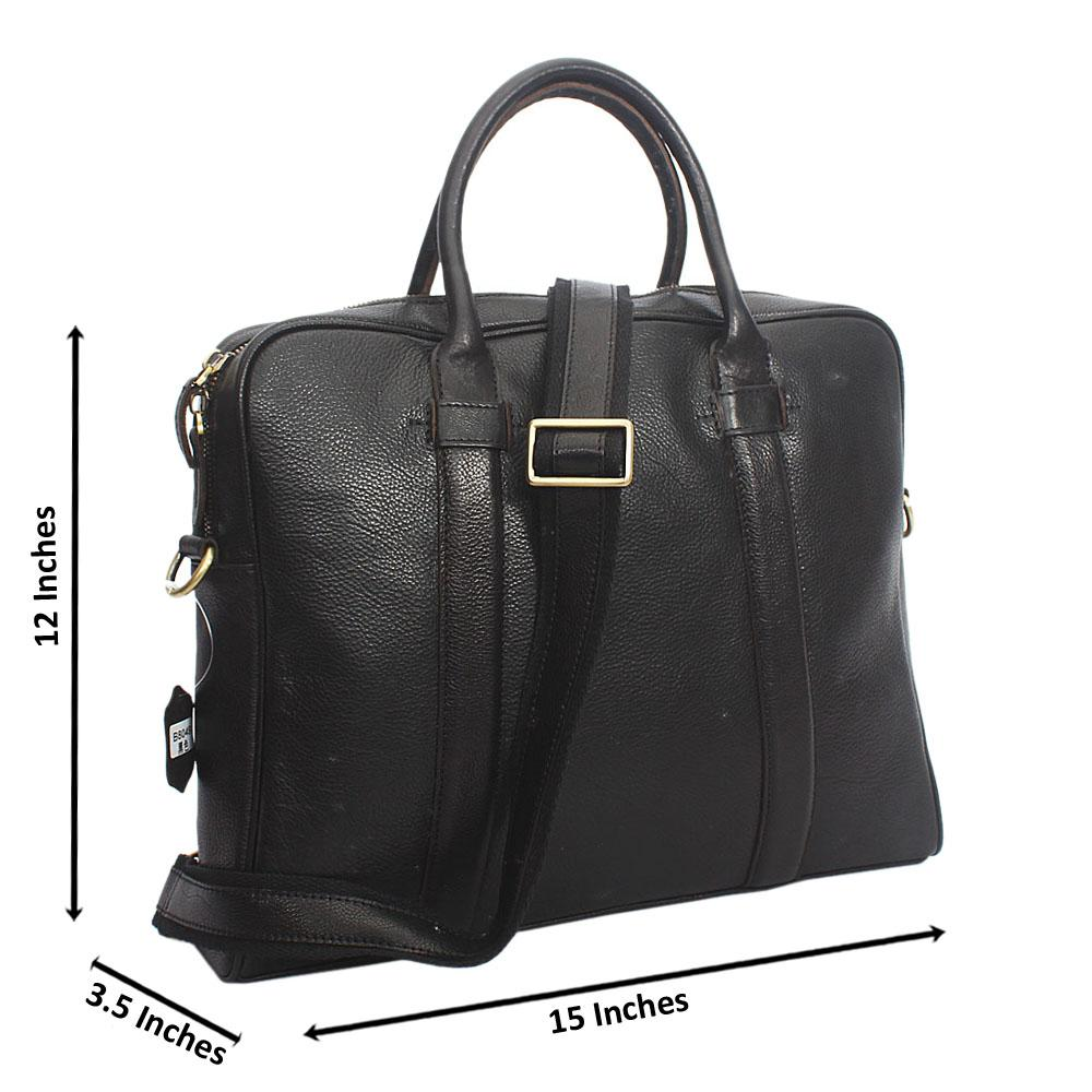 Black Vinny Classic Leather Briefcase