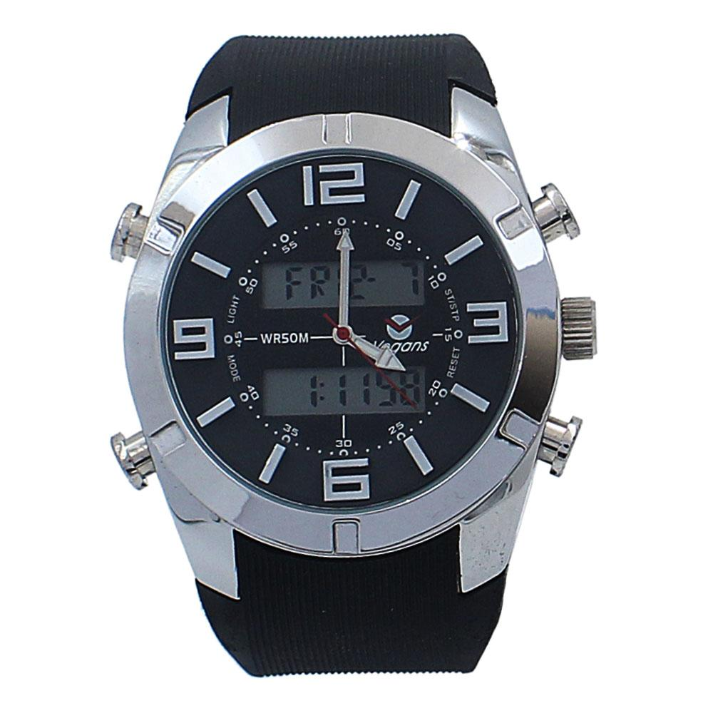 Silver Black Rubber Water Resistant 50M Analog-Digital Watch