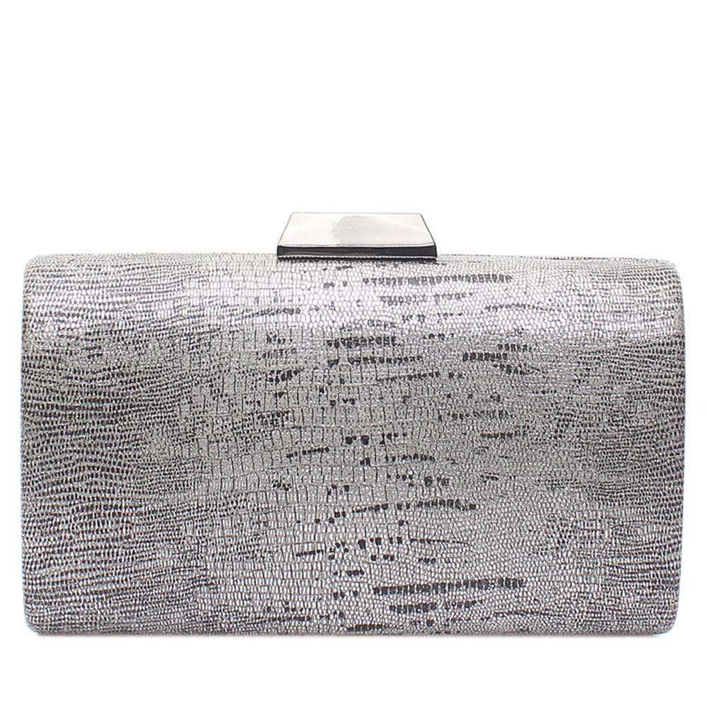 Grey Mix Animal Skin Hard Clutch