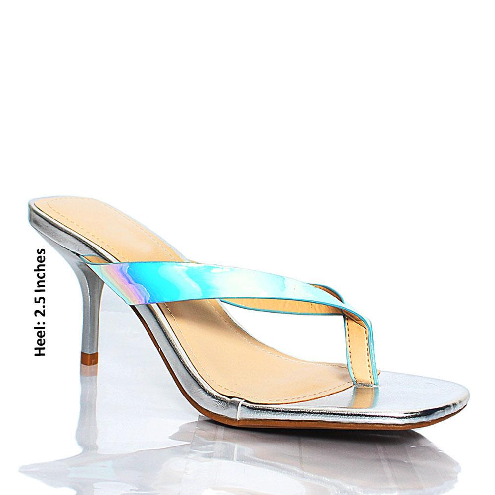 Silver Reflective BB Reform Leather Mule