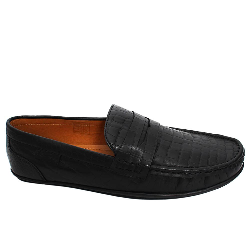 Black Koby Croc Leather Men Loafers