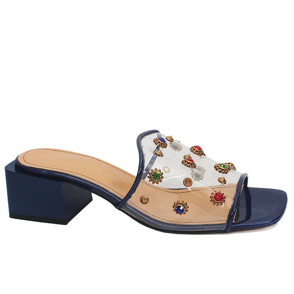 Blue Gelato Embellished Rubber Leather Mix Slippers