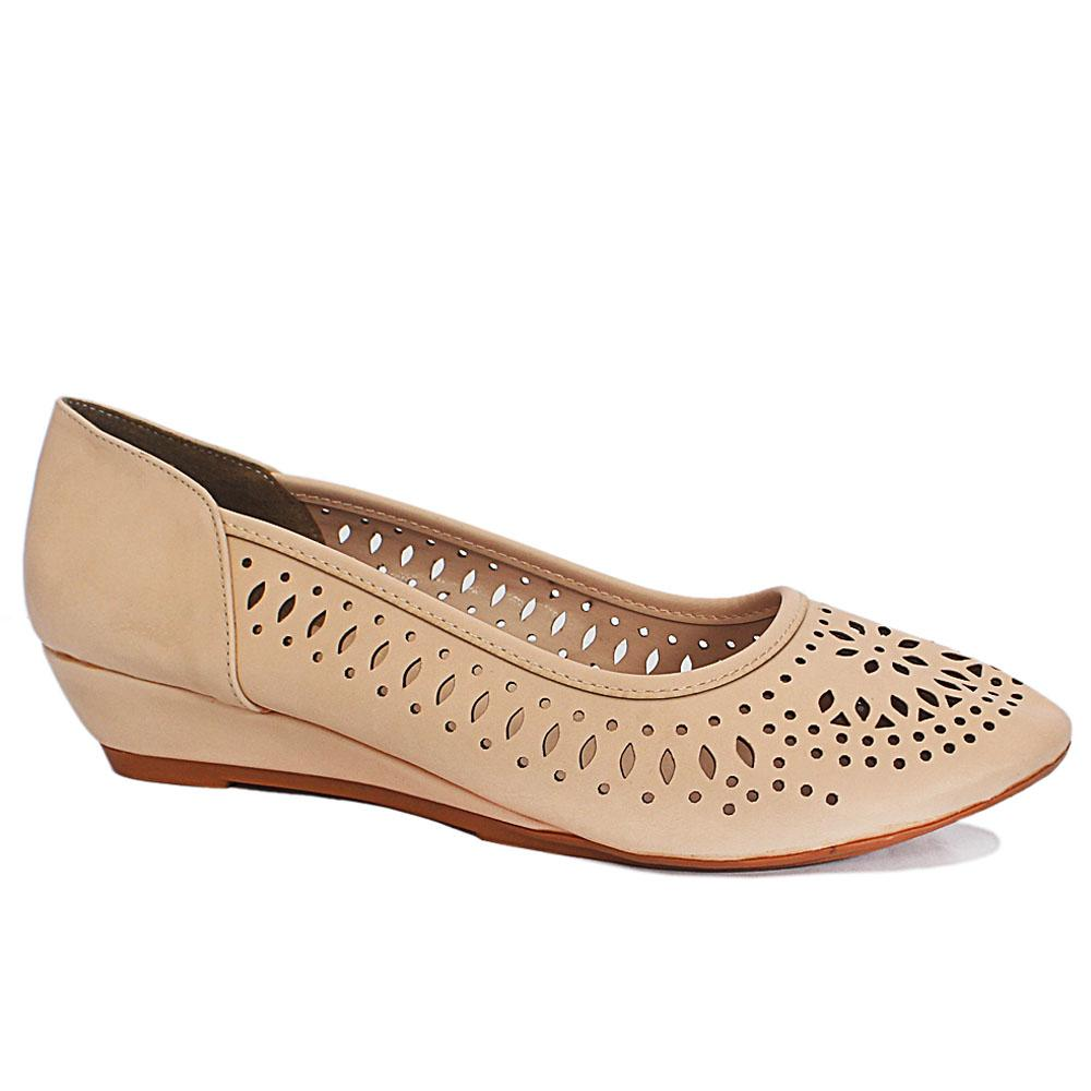 Claudia Beige Perforated Leather Small Wedge Shoes