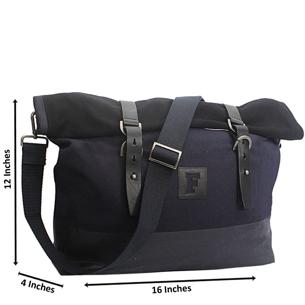 French Connection Black Navy Fabric Foldable Messenger Bag