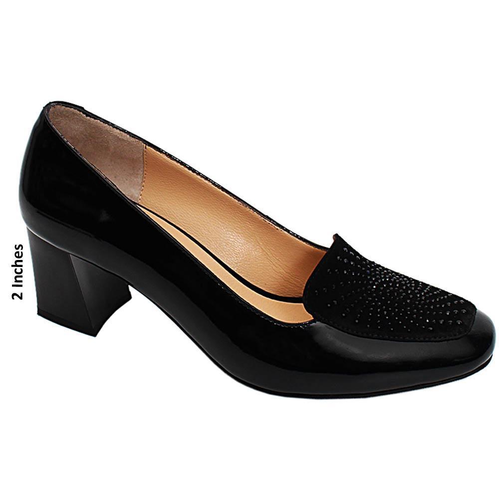 Black Jasmine Studded Patent Italian Leather Block Heel Pumps