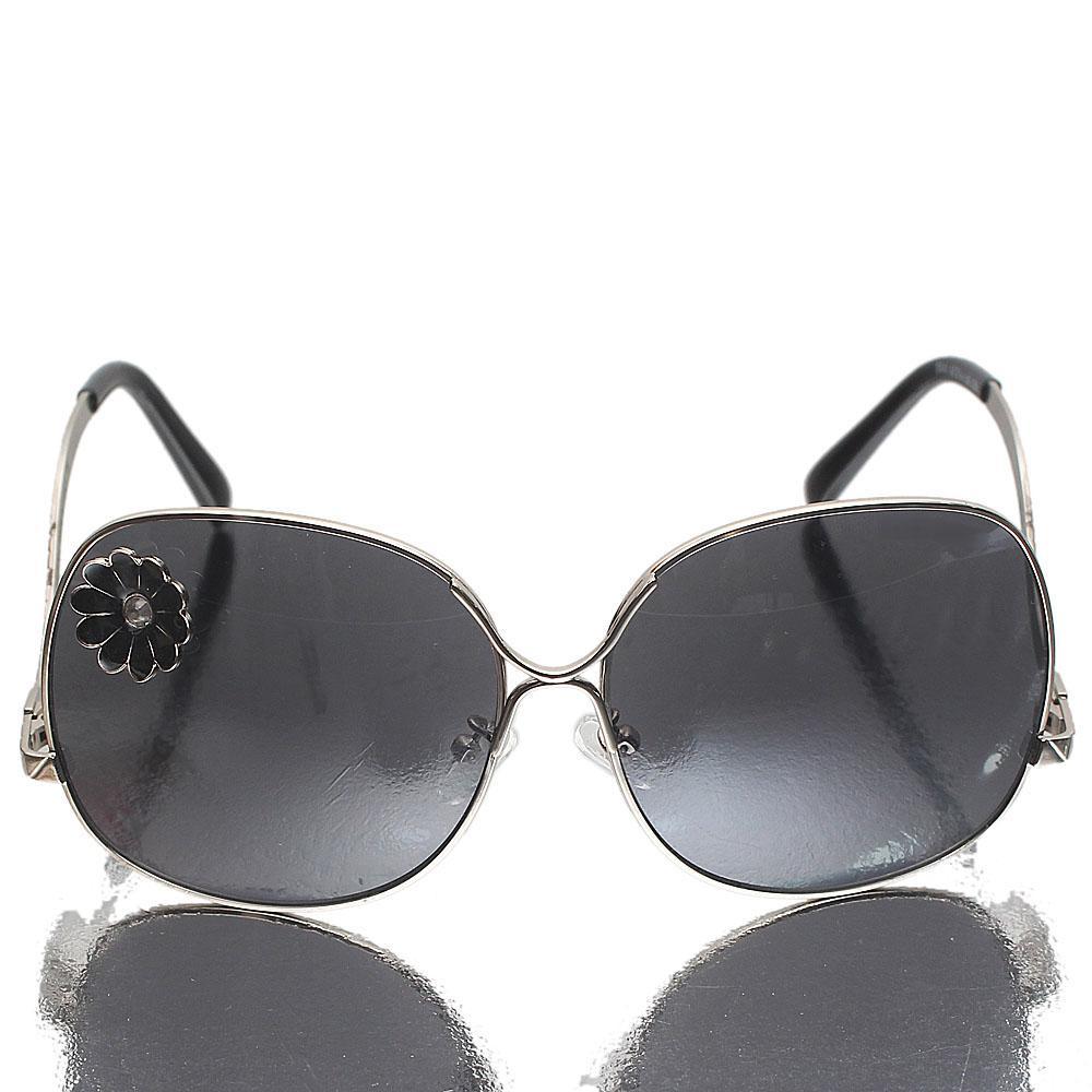 Silver Black Oblong Dark Lens Sunglasses