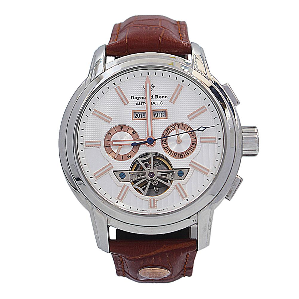 Cinnamon Brown Silver Leather Automatic Watch