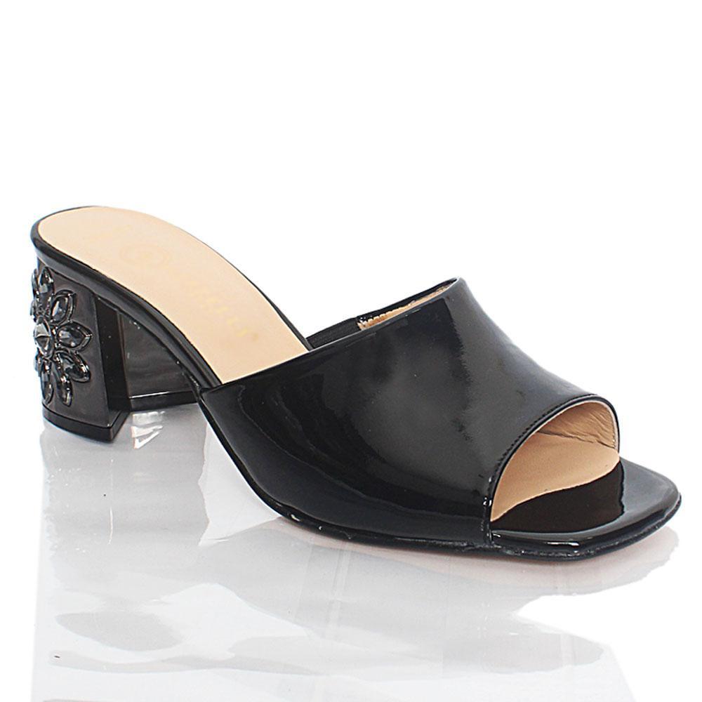 Black Luisa Patent Italian Leather Mule Slippers