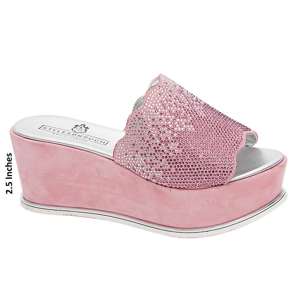 Soft Pink Sienna Studded Italian Leather Wedge