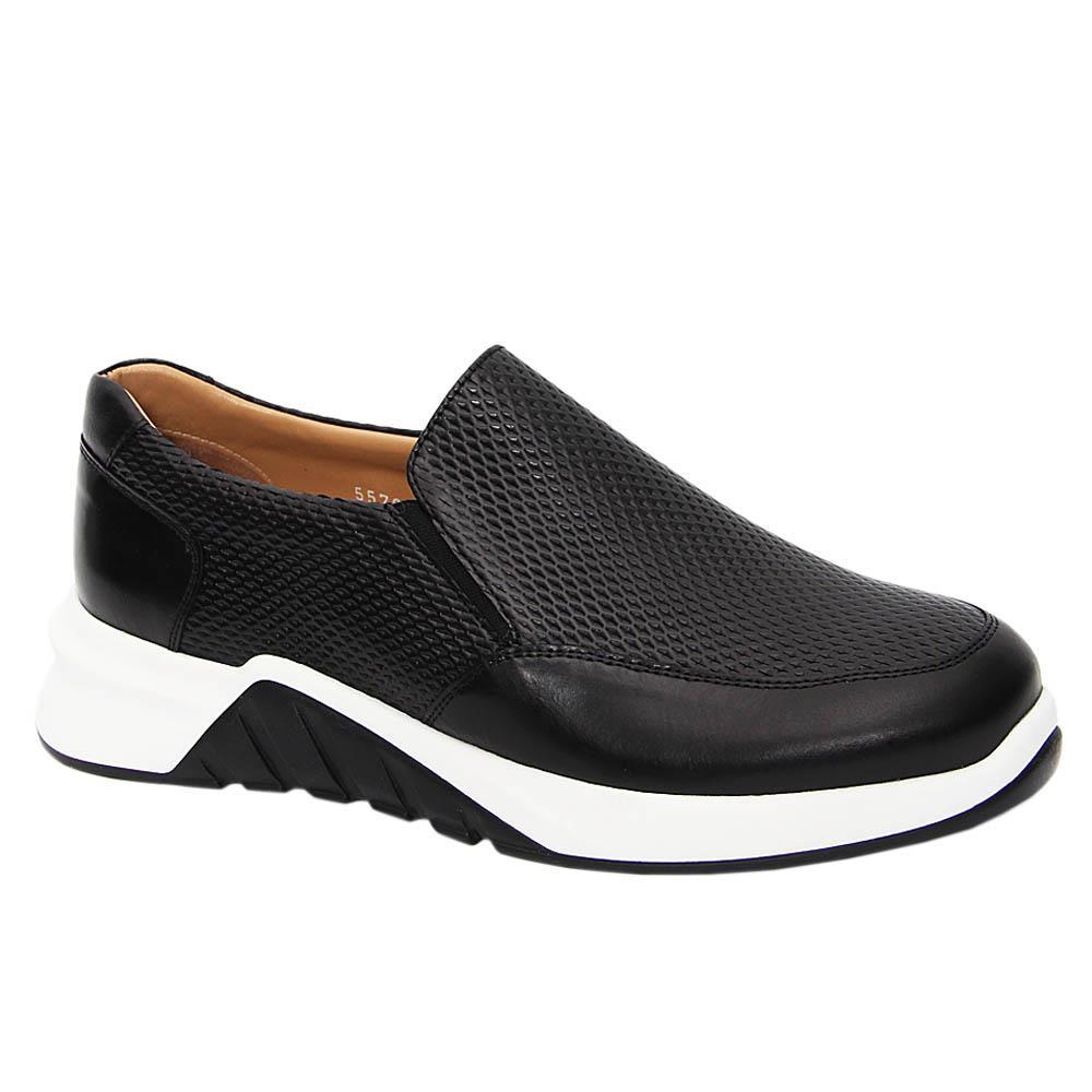 Black Murilo Italian Leather Slip-On Sneakers