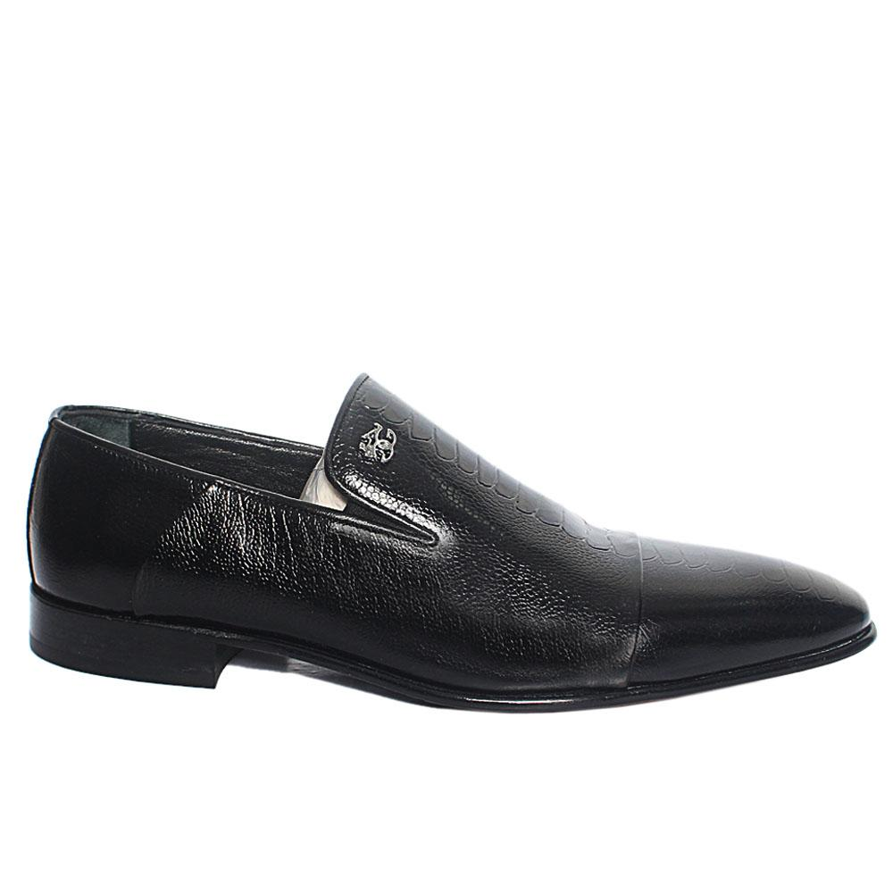Black Ostrich Leg Italian Leather Loafers