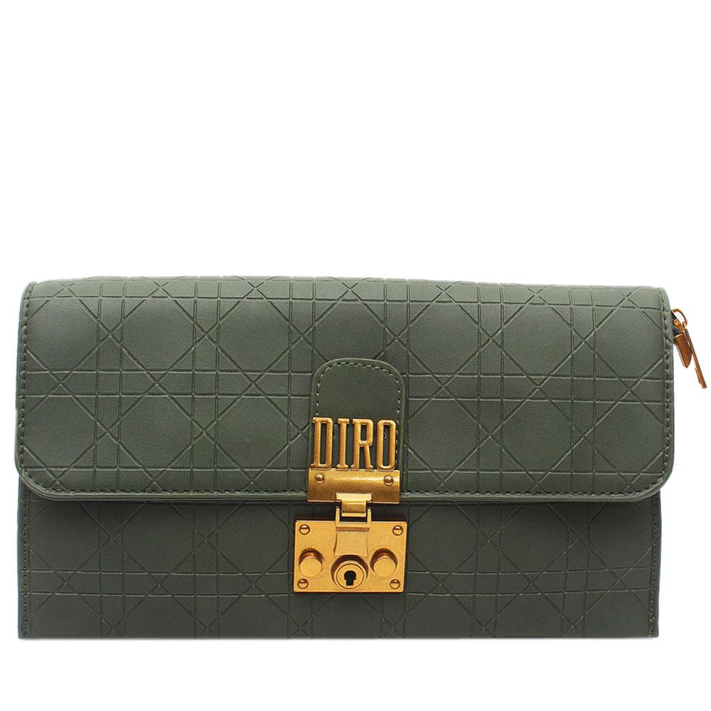 Army Green Lonia Embossed Leather Flat Purse