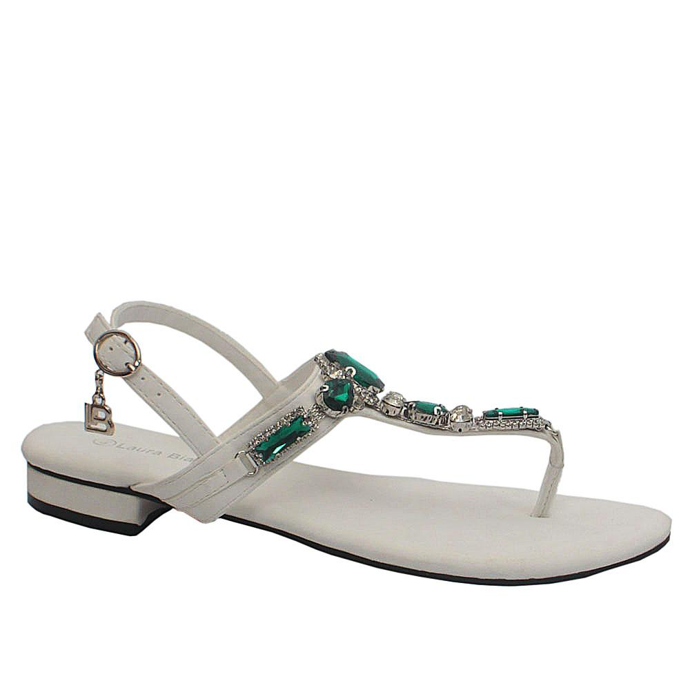 Sz 40 Biagiotti White Green Crystals Leather Sandals