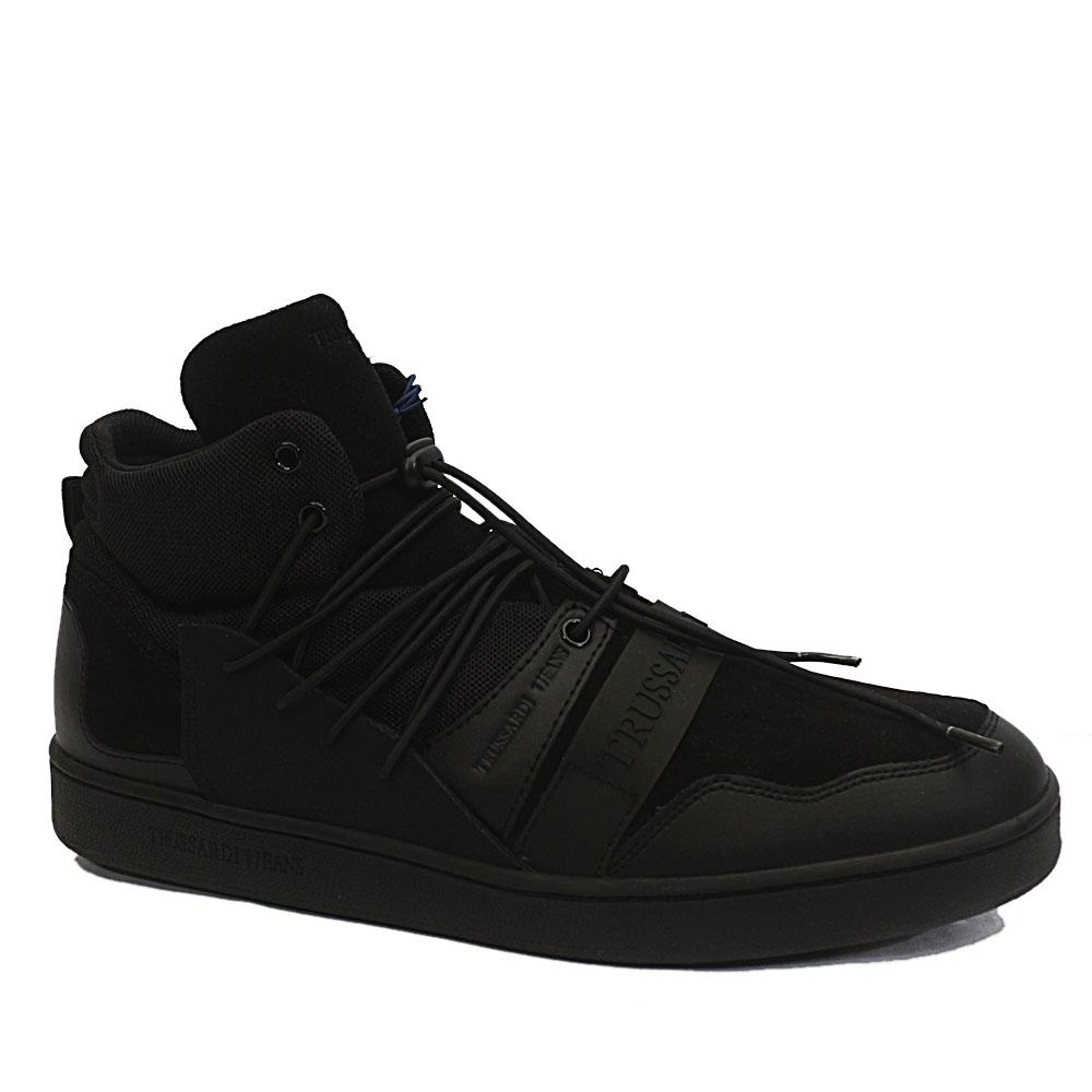 Trussardi Black Mix Suede Leather High Top Sneakers