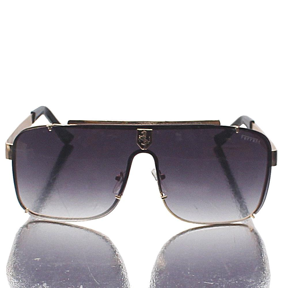 Gold Shield Dark Lens Sunglasses