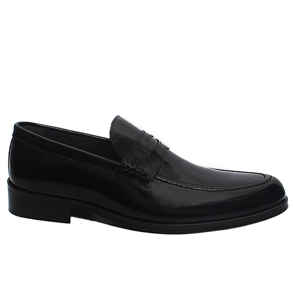 Black Malcolm Patent Leather Penny Loafers