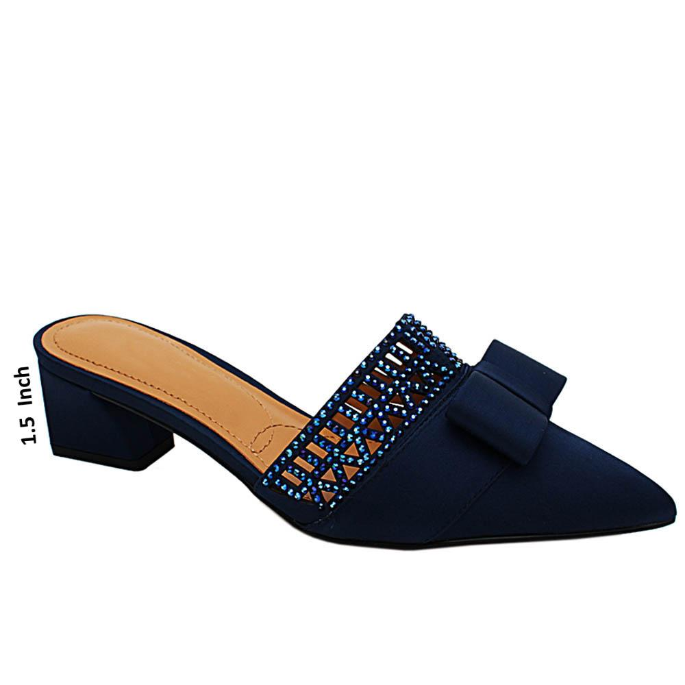 Navy Hazel Satin Fabric Low Heel Half Pumps