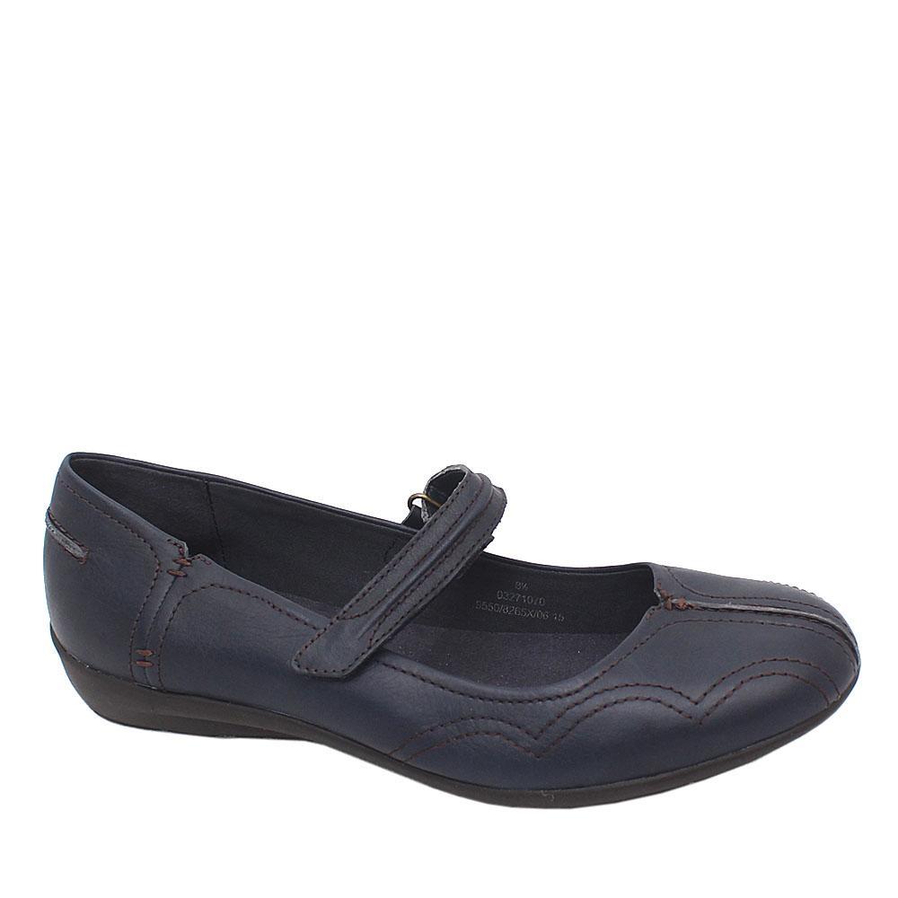 Footglove Navy Leather Ladies Flat Shoe Sz 42.5