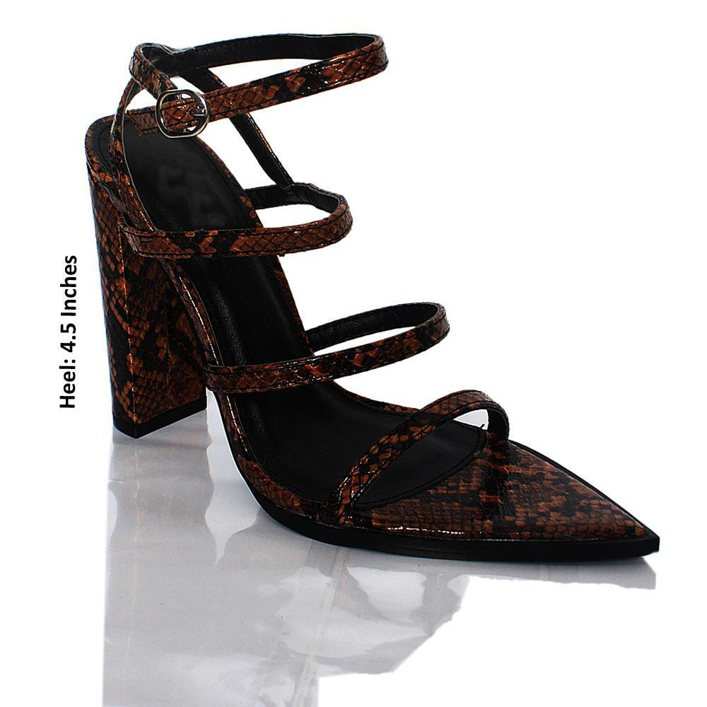 Brown Snake Skin Leather High Heels