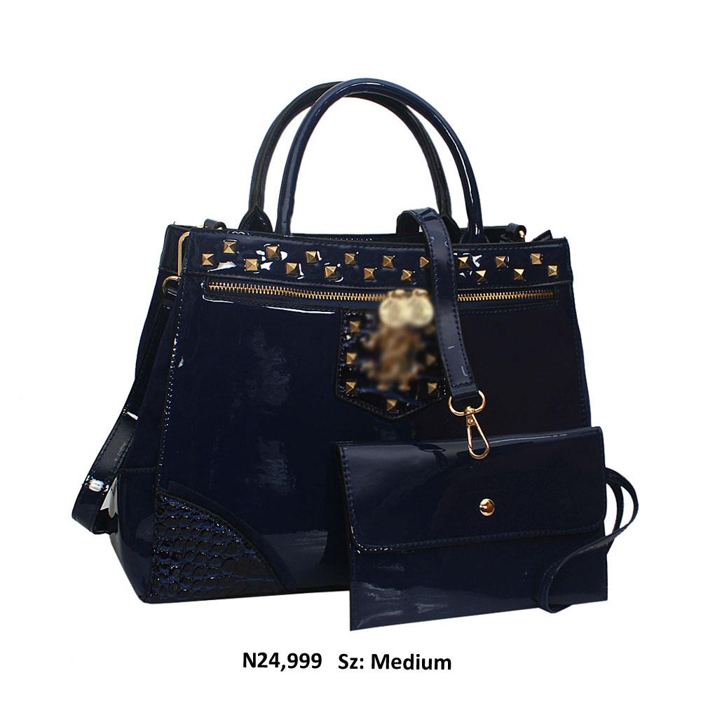 Blue Opal Studded Patent Suede Leather Tote Handbag