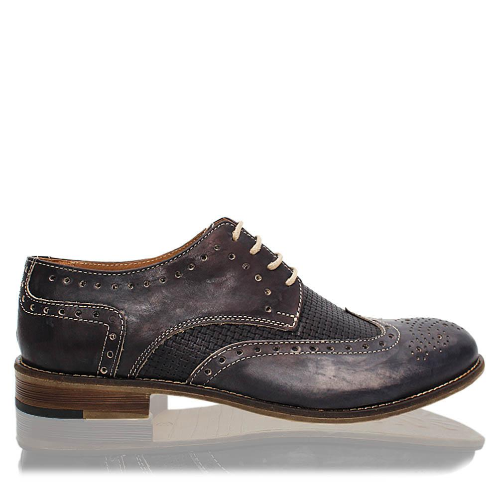 Gray Livio Italia Leather Men Derby Shoes