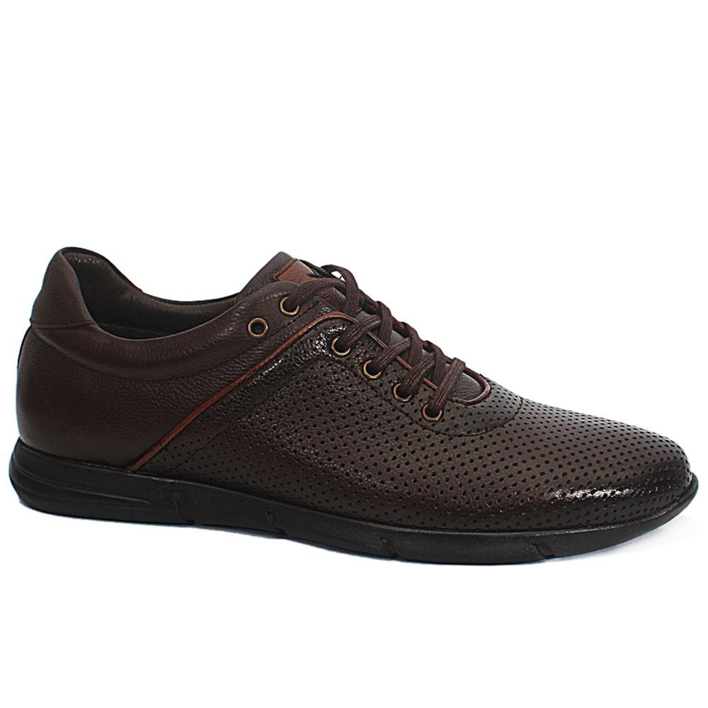 Dante Coffee Breathable Leather Sneakers