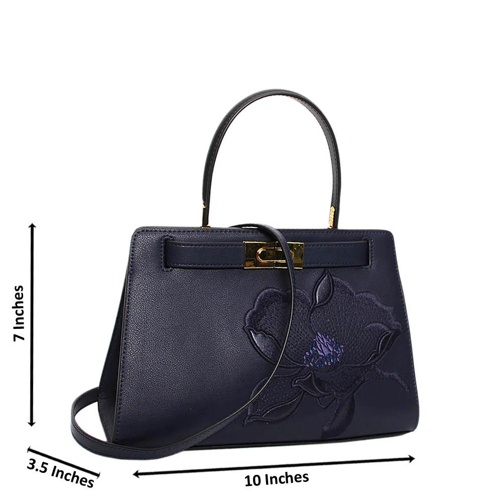 Navy Blue Fernanda Premium Leather Mini Handbag