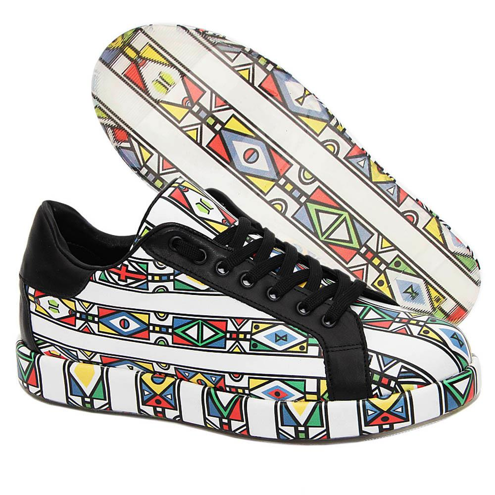 White Multicolor Micah Italian Leather Unisex Sneakers